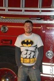 "Fireman Tim Kriss wearing his ""other"" uniform"
