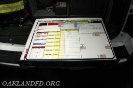 Incident board used to track all components of a fire scene response