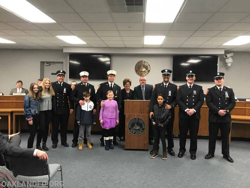Left to right Co 1 Captain Donald Johnston,  Co 1 Asst. Chief Lewis Thurston, Department Chief Vincent Dies, Mayor Linda Schwager, Councilman Robert Knapp, Co 1 Lt. Cesar Arredondo, Co 2 Lt. Daniel DeRisi, Co 1 Lt. Matt Sorce. Joined by their children!
