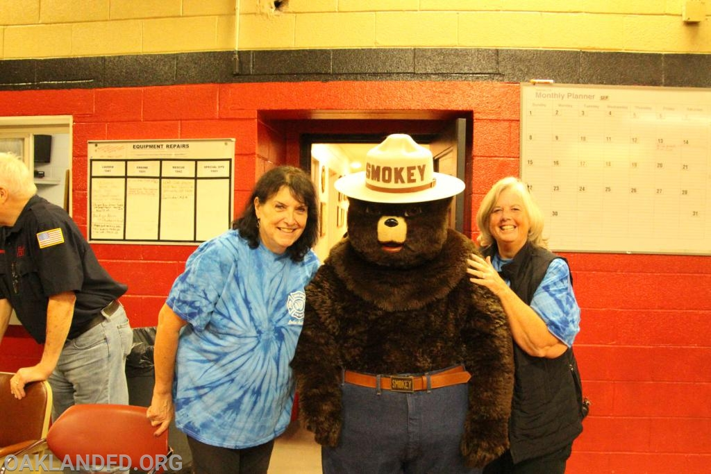 Smokey the Bear visits the Oakland Volunteer Fire Department